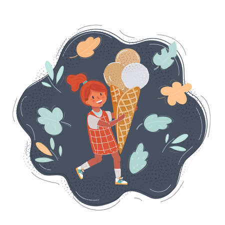 Illustration of little girl with big ice-cream
