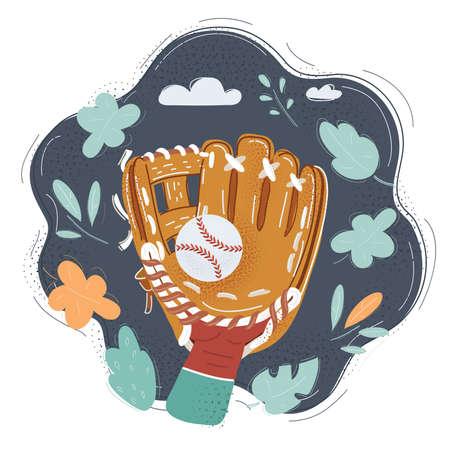 Illustration of Baseball glove on human hand and ball on dark background.