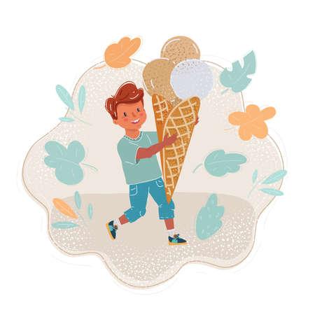 Illustration of little boy with big ice-cream Ilustração