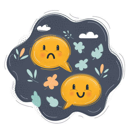 Illustration of unhappy and happy face in speech bubble. Feed back concept on dark. unhappy and happy face in speech bubble. Feed back concept on dark. Illustration
