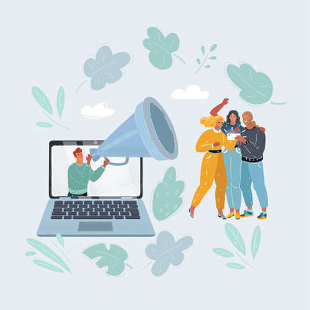 Vector illustration of content marketing is attract people into blog or place. Man with big megaphone inform people from laptop screen.