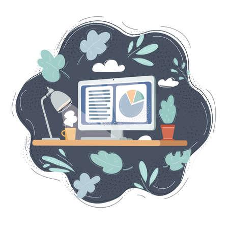 Illustration of laptop on desk