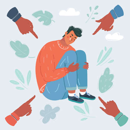 Illustration of a man and people around pointing at him with their fingers Ilustração