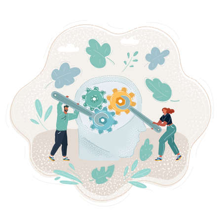 Vector illustration of human mind with gears inside. Little people with big wrench.