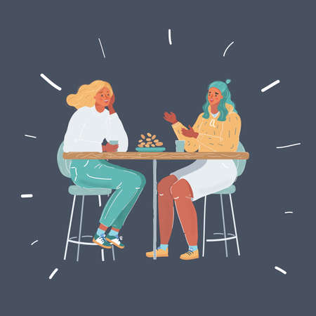 Illustration of two young women having lunch together. Female friendship concept on dark background. Ilustração