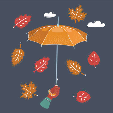 Illustration of arm hand holds umbrella on a dark background. Falling leaves are circling around.