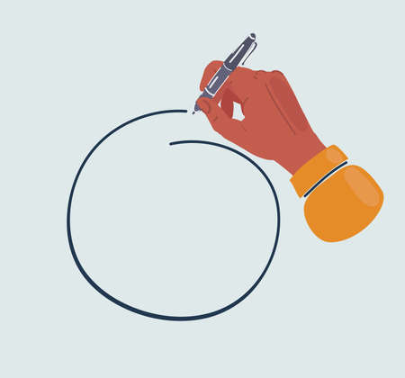 Illustration of hand drawn circle drawn by pen in hand. Copy space place.