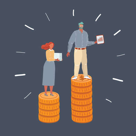 Illustration of woman and man standing at coins stacks. Weige inequality earnings, salary concept on dark background.