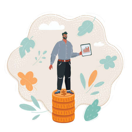 Illustration of young businessman standing at his small coins stack. Financial plan concept