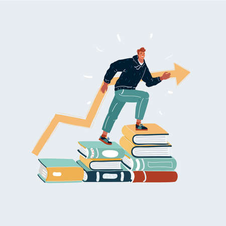 Illustration of young man steeps on stacks of book. Studying concept.