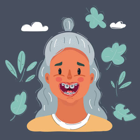 Illustration of Close-up of a smiling young cute girls face with braces on his teeth. Portrait on dark background. Ilustração