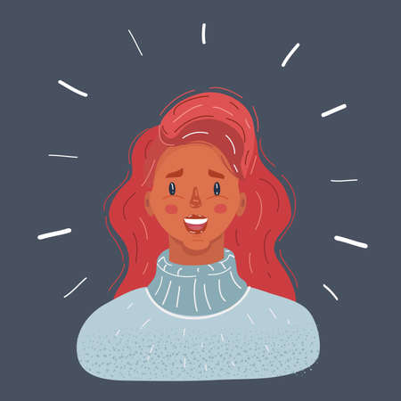 Vector illustration of Young woman face with red hair on dark background.