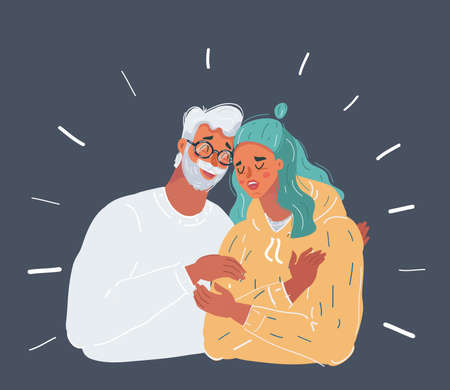 Father and teenager daughter with head in his shoulder sharing something funny in a mobile phone
