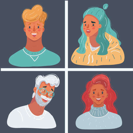 Vector illustration of people face collection on dark background. Famale and male avatar. Man and woman Ilustrace