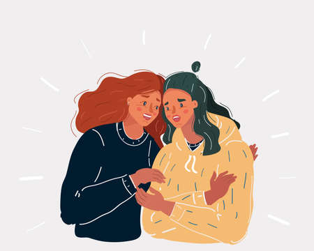 Vector illustration of Troubled young woman comforted by her friend on white background