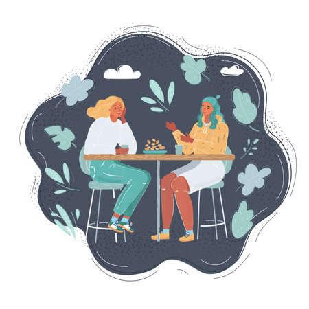 Vector illustration of Two women talking in cafe and smiling on dark background. 向量圖像