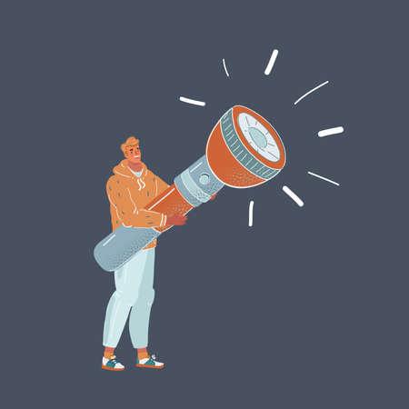 Vector illustration of man holding big flashlight on dark backround. Иллюстрация