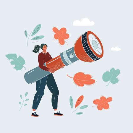 Vector illustration of woman with big flashlight in her hands. Ilustración de vector