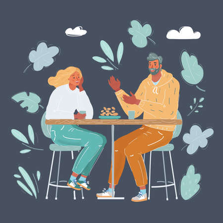 Vector illustration of Happy young couple in cafe, having a great time together on dark background. 向量圖像