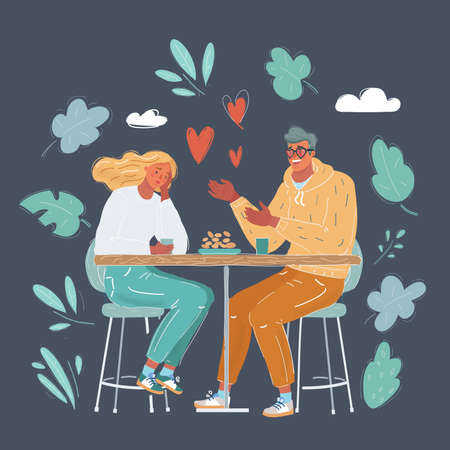 Vector illustration of lady being annoyed with her boyfriend talking in the middle of the date on dark background.