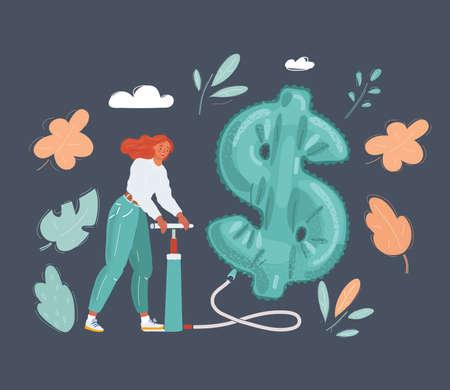 Vector illustration of Woman with pumper is pumping Money Balloon on dark background. Stock Illustratie