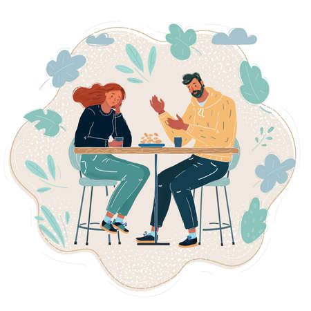 Vector illustration of people comforting upset friend in college cafe