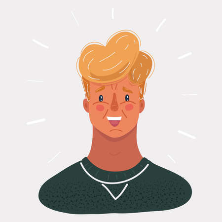 Vector illustration of Face of young man on white backround.