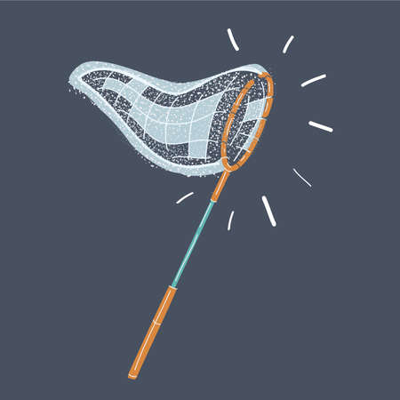 Vector illustration of Catching butterflies and fishes net on dark background.