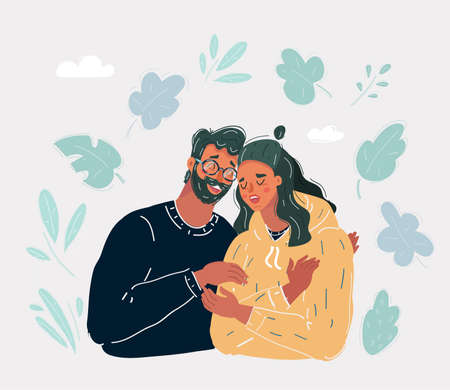 Vector illustration of Senior Father comforting sad adult daughter