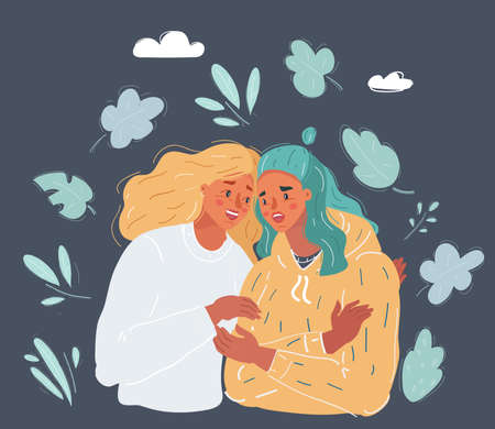 Vector illustration of woman comforting crying friend with warm hug on dark background. 向量圖像