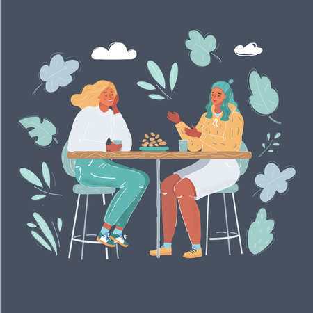 Vector illustration of Cheerful bestfriends in cafee. Two woman talk on dark background. Vector Illustration