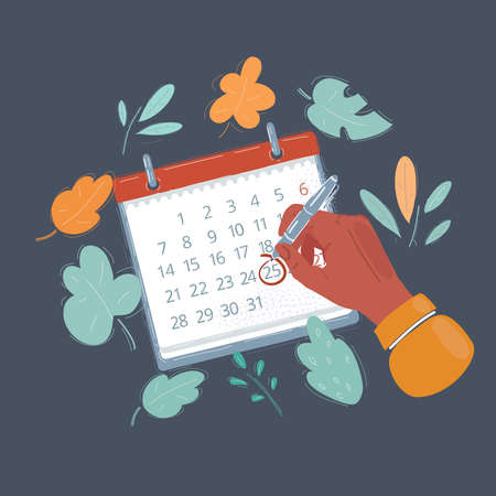 Vector illustration of hand with pen point on data calendar note book. Objects on dark