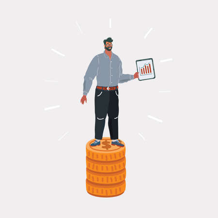 Vector illustration of specialist, man standing on stack of money. Wages concept on white isolated bacgkround.