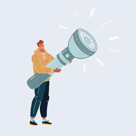 Vector illustration of man with big giant flashlight in his hands. Ilustração