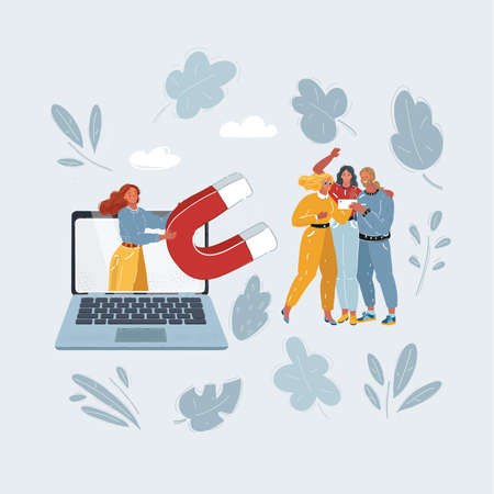 Vector illustration of Social Media Marketing Solution. Woman with big magnet on laptop screen try to increasing the audience.