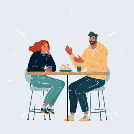 Vector illustration of Happy young couple in cafe, having a great time together on white background.