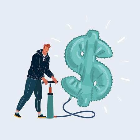 illustration of business man pumping air in money balloon with happiness, business situation concept about making money growing