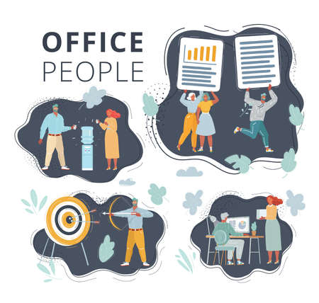 Vector illustration of People on dark background set. Office team working at workspaces. Work with files, cooler, aim and bow arrow Stock Illustratie