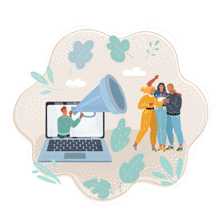 Illustration of man come out from screen of laptop holding large loudspeaker to attract followers for blog. Social media marketing strategy getting more people. Involvement of audience Ilustração