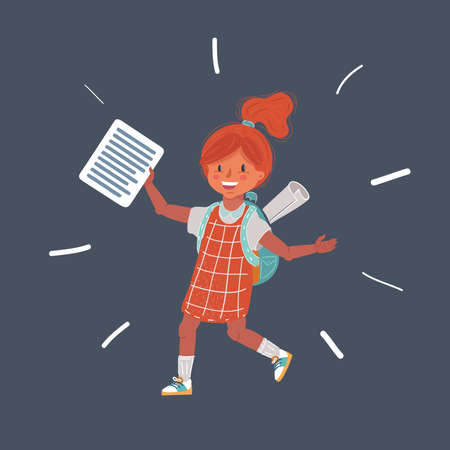 illustration of Happy schoolgirl with backpack s isolated on dark background Vettoriali