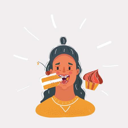 Vector illustration of woman eating a lot of cake. Female face on white background. Vektorgrafik