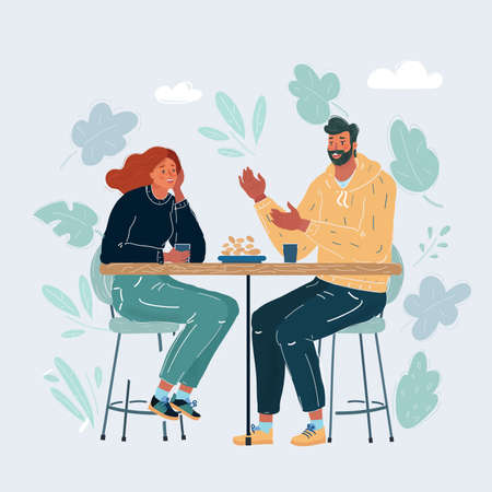 Vector illustration of Couple sitting in the cafe, flirting and talking about something.
