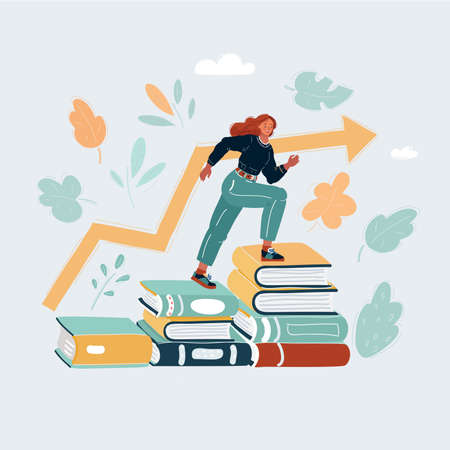 Vector illustration of woman step over higher stack of books. Business education concept