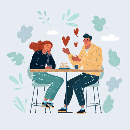 Cartoon illustration of Unrequited love. Non-reciprocal feelings, bad date