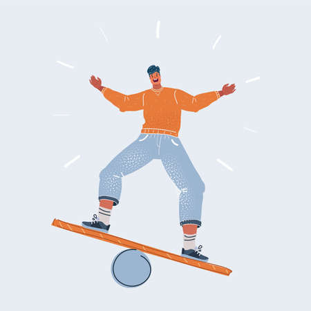 Vector illustration of man balancing on board. Human character on white background.