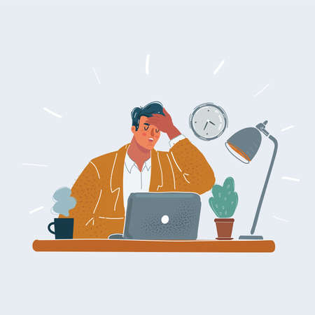 illustration of tired man, who touch him forehead with him hand. Character sitting at table. Tiered, illness, fever head ache and exhausted people at office concept on white background.