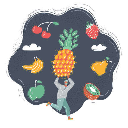 Vector illustration of Man get big fruit and run with it on dark background.  イラスト・ベクター素材