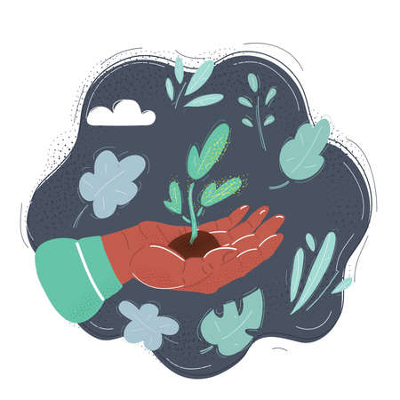 Vector illustration of smal plant in human hand on dark background Illusztráció