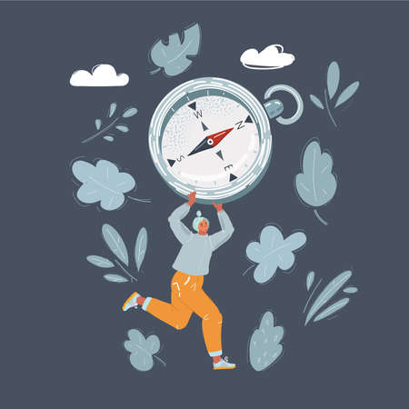 Vector illustration of Woman runs in the right direction with big compass in her hand