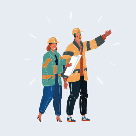 Vector illustration of two builders in helmet. Man and woman engeneer with plan talking about job on white background.
